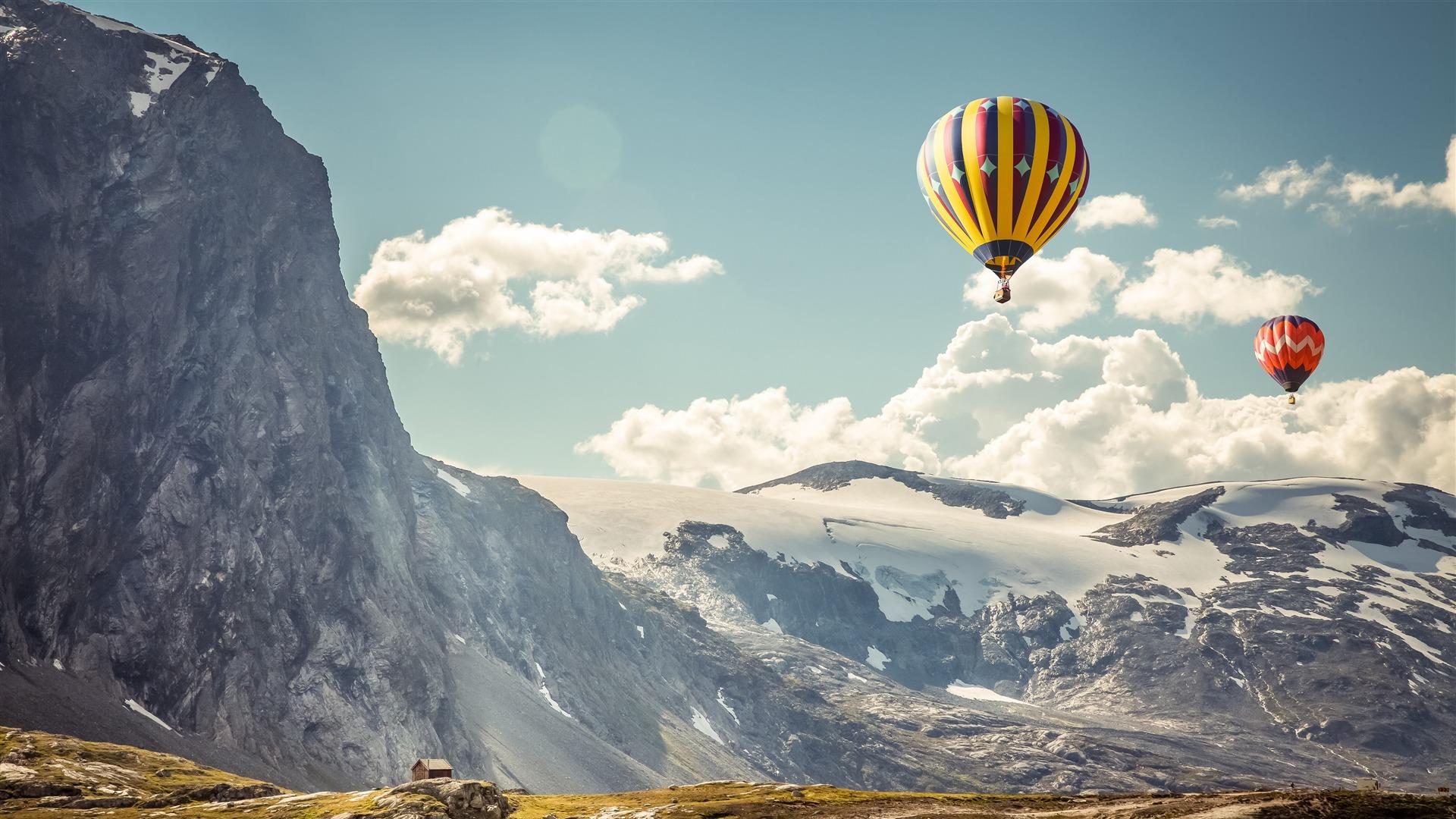 冰岛,雪,山,热气球,4k,高清,桌面预览 10wallpaper Com