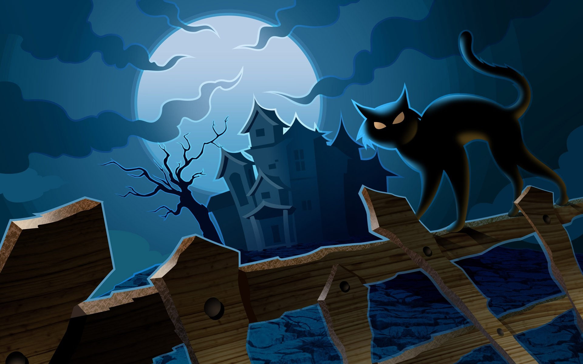 月明かりの城と野生の猫 ハロウィンの壁紙イラストデザインプレビュー 10wallpaper Com