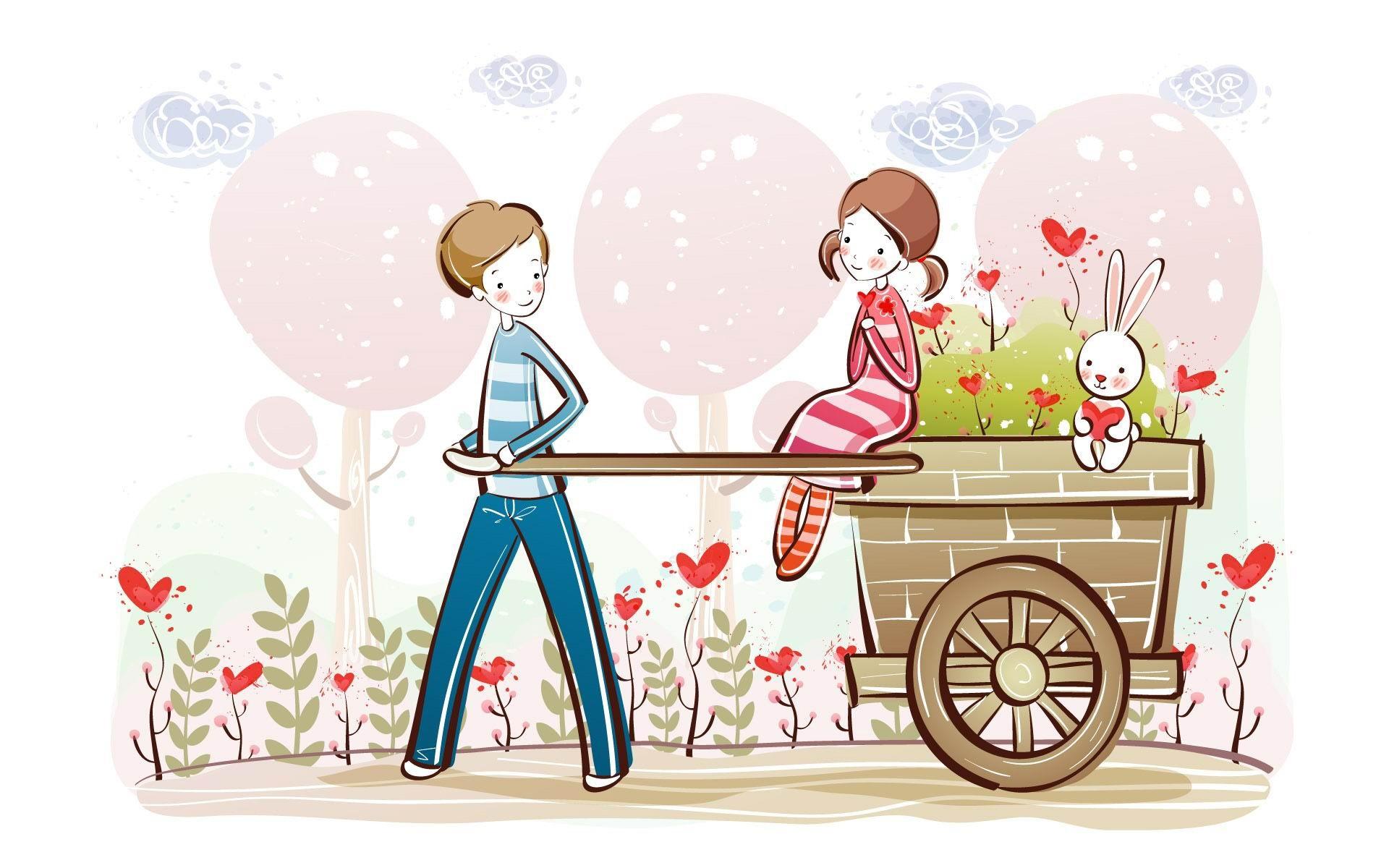 かわいいバレンタインカップルバレンタインデーのイラスト
