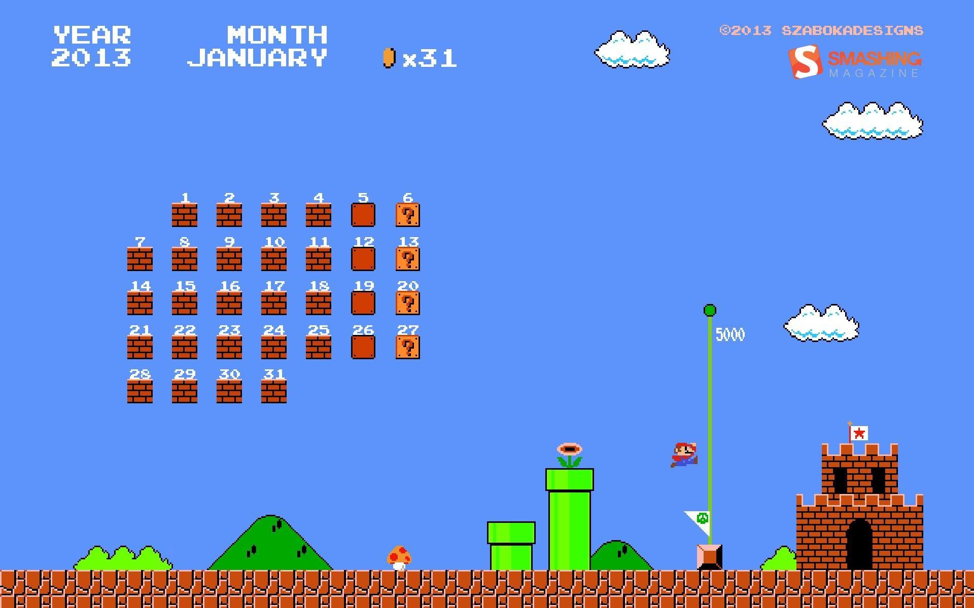Calendar Wallpaper Creator : マリオ 月 年 月カレンダーデスクトップテーマ壁紙 ファミコン版
