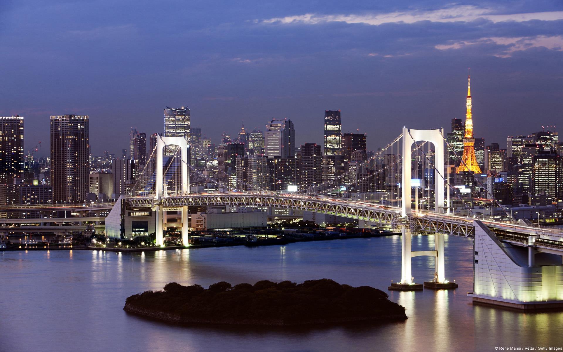 Rainbow Bridge And Tokyo Tower In Japan Windows 10 Theme Hd