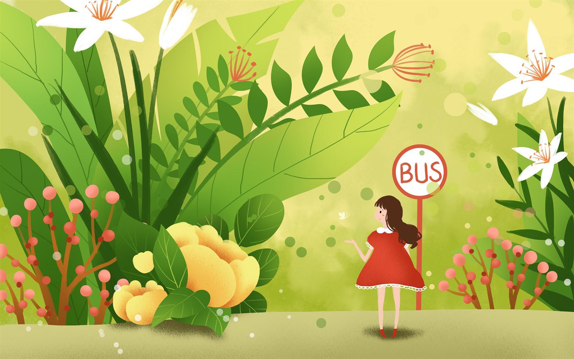 かわいい女の子バス花イラストアートプレビュー 10wallpapercom