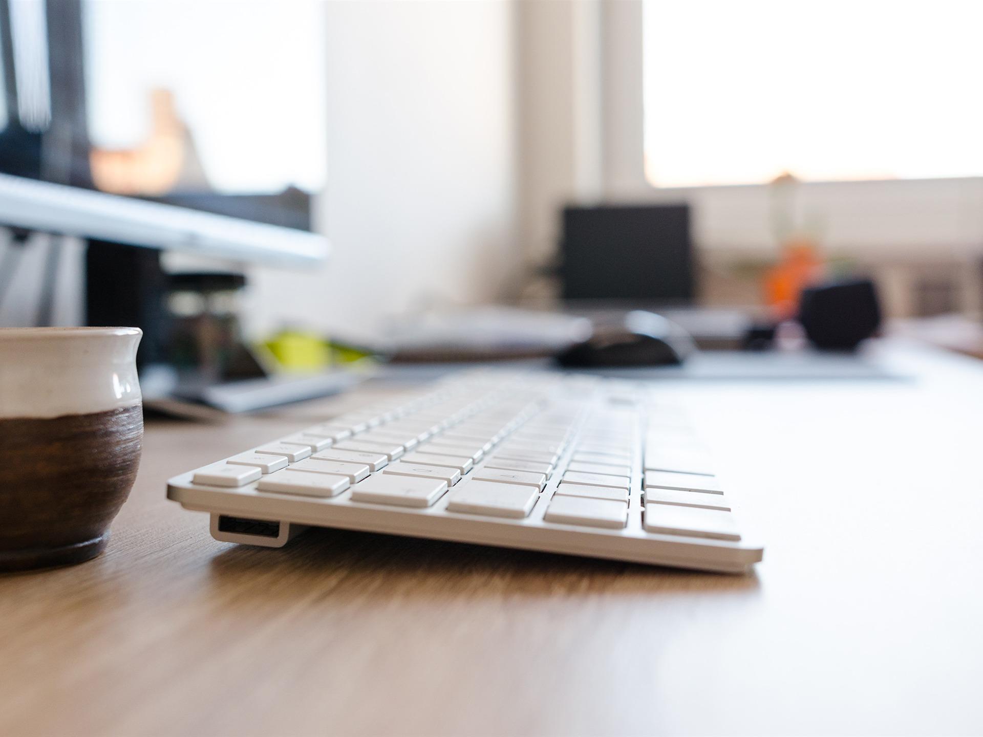 Office Desk Keyboard Art Cup Photo Hd Wallpaper Preview