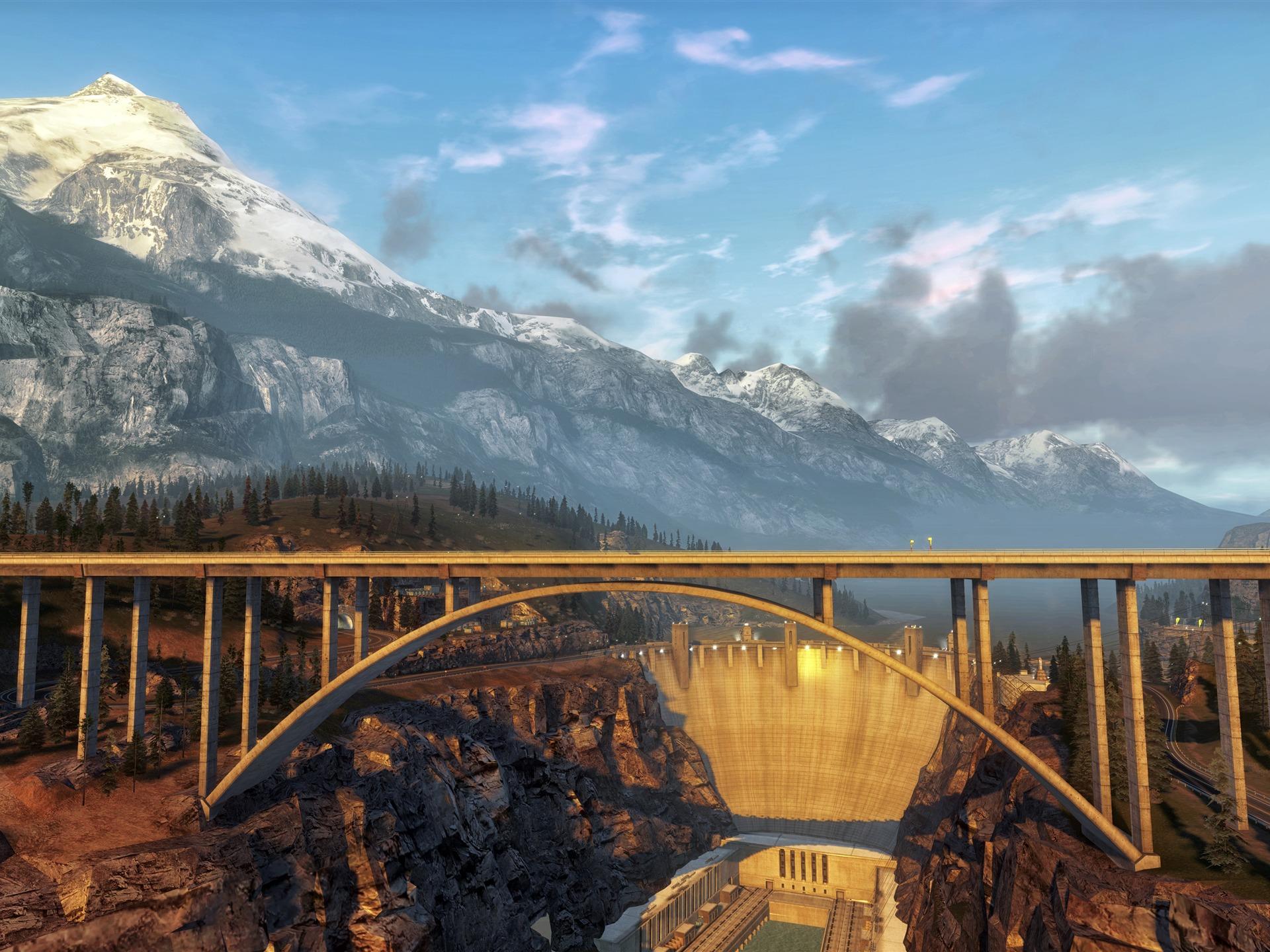 壮観、渓谷、ダム、橋、夕焼け、4K、超HD、写真プレビュー | 10wallpaper.com