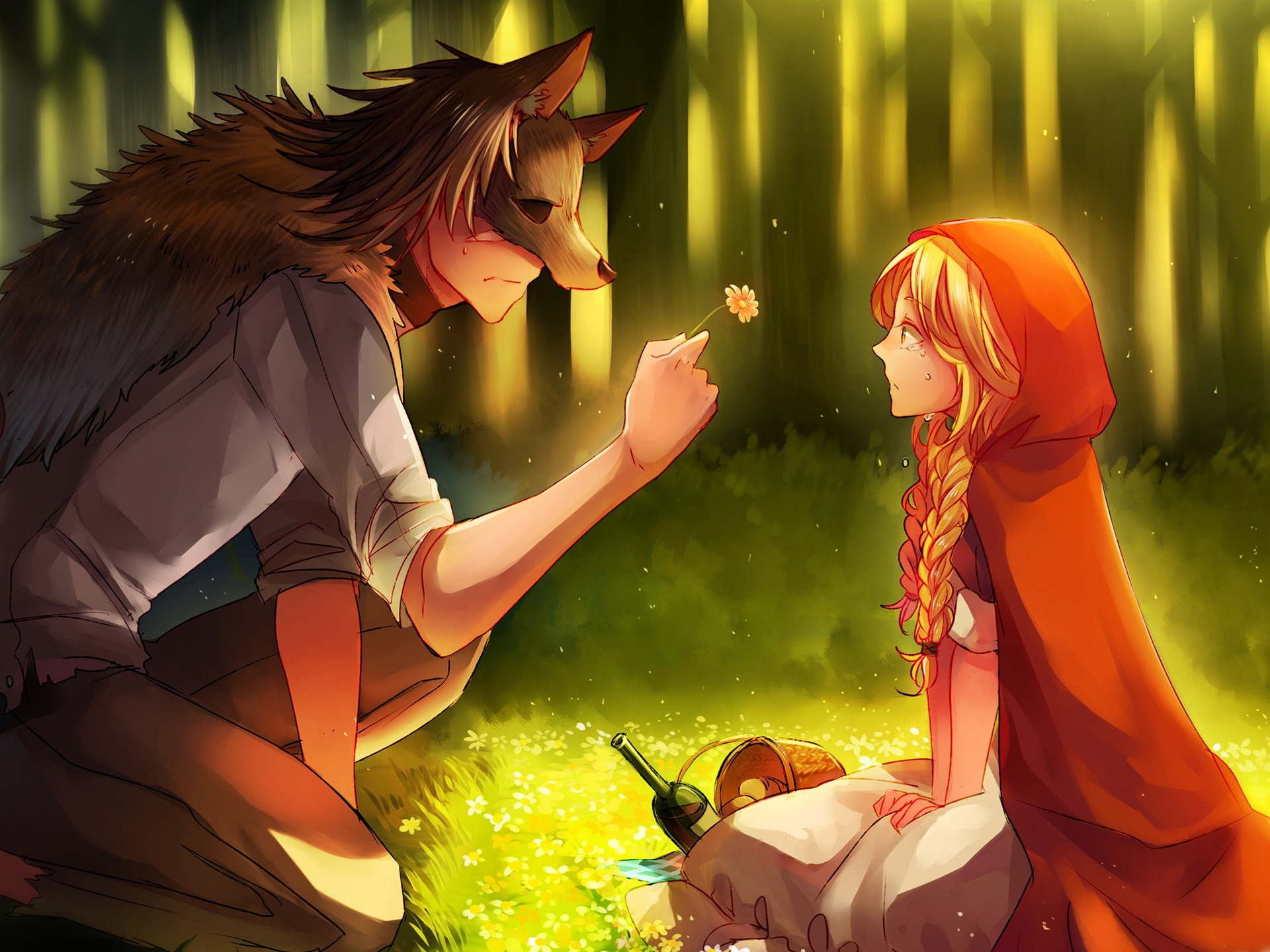 Wolf And Little Red Riding Hood Fairy Story Preview 10wallpaper Com