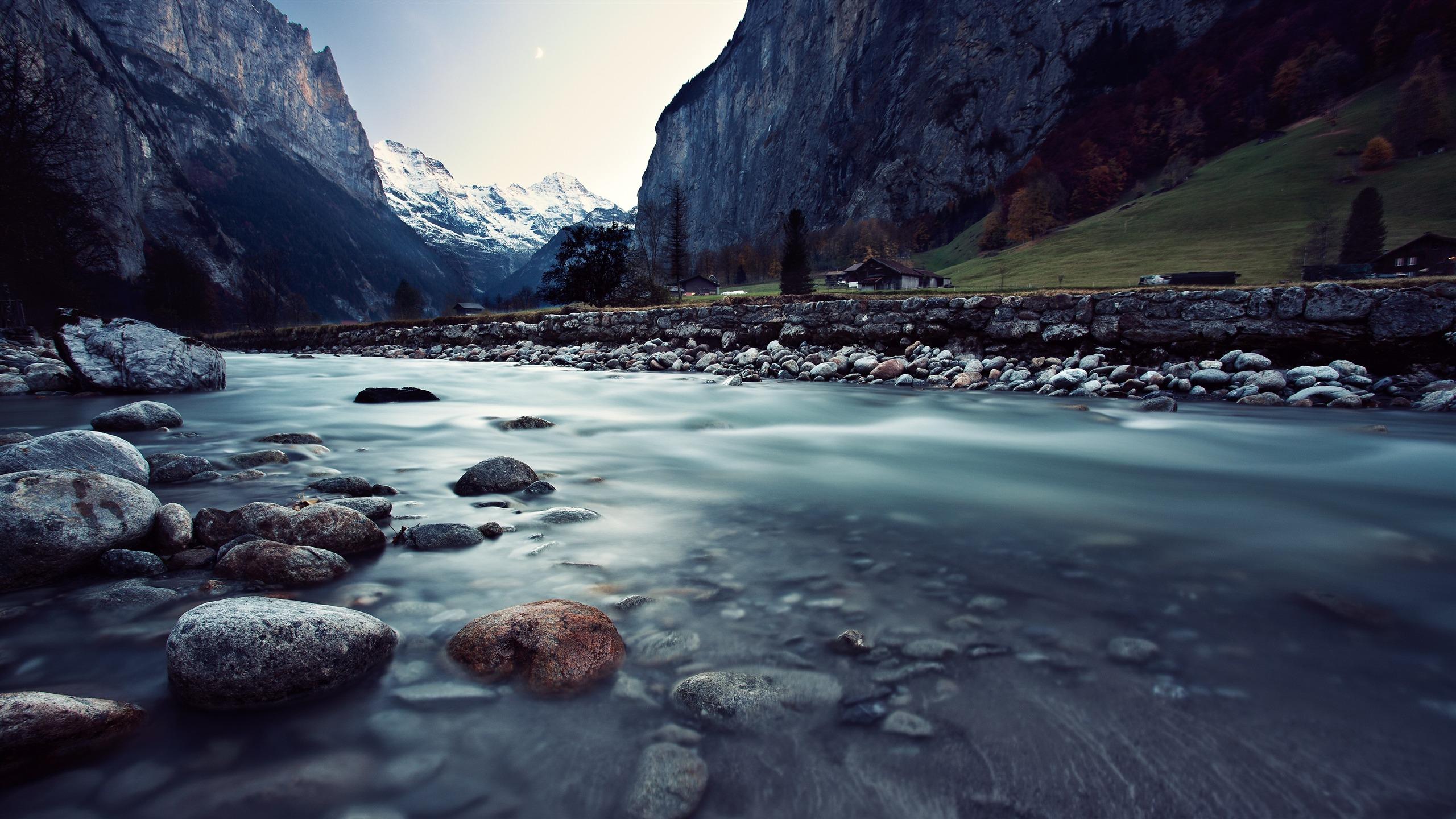 雪,山,峡谷,河流,木屋,4K,高清,桌面预览 | 10wallpaper.com