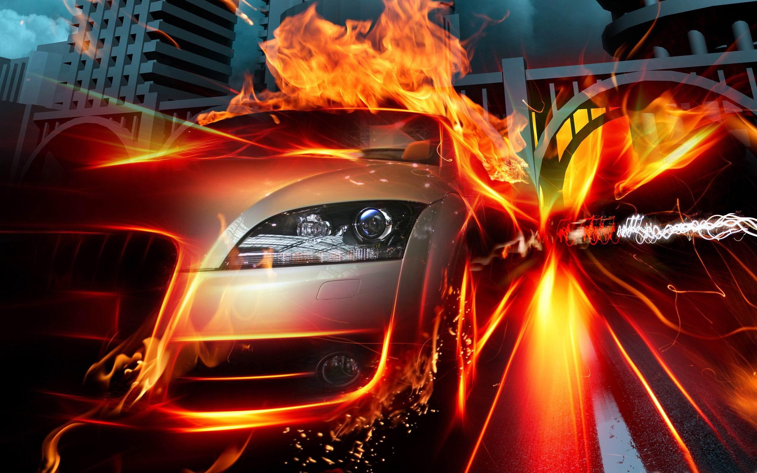 De la voiture-la flamme de papier peint la créativité du design