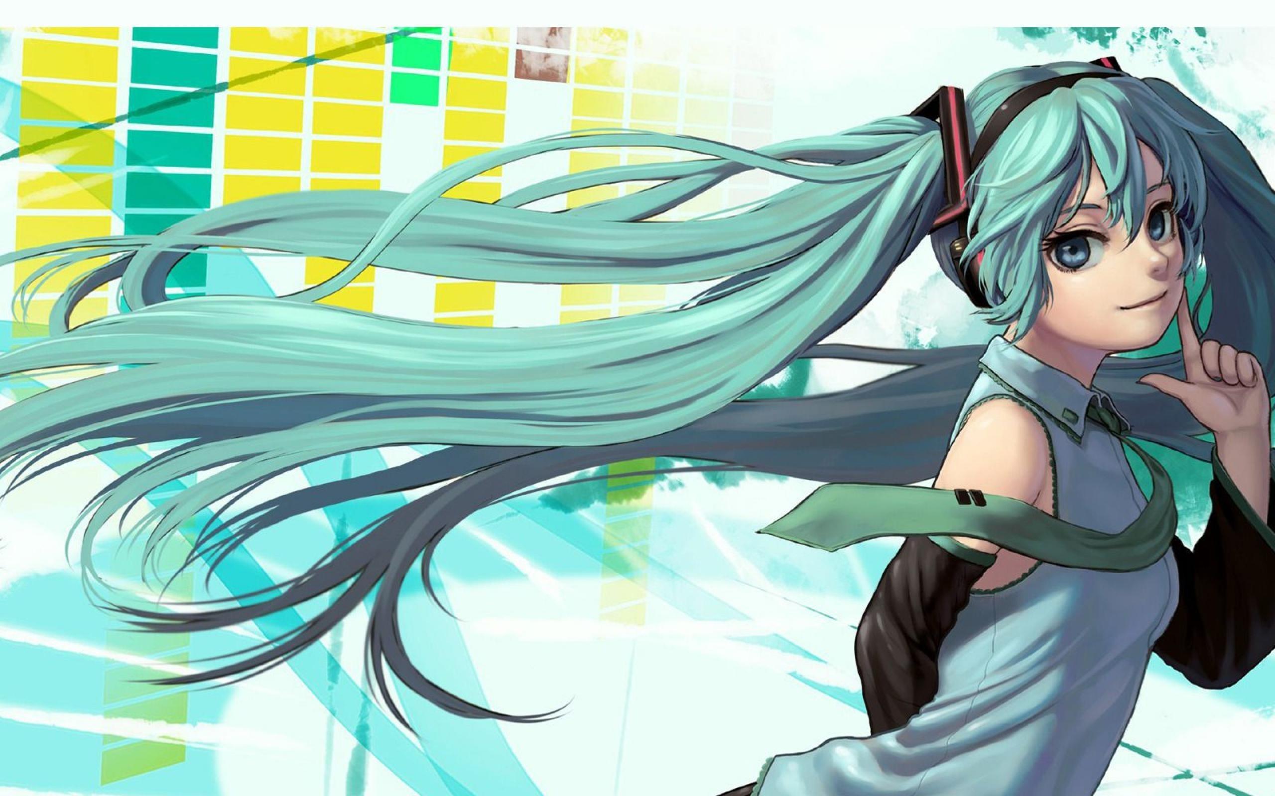 Hatsune Miku Anime Design Hd Wallpaper 2560x1600 Download
