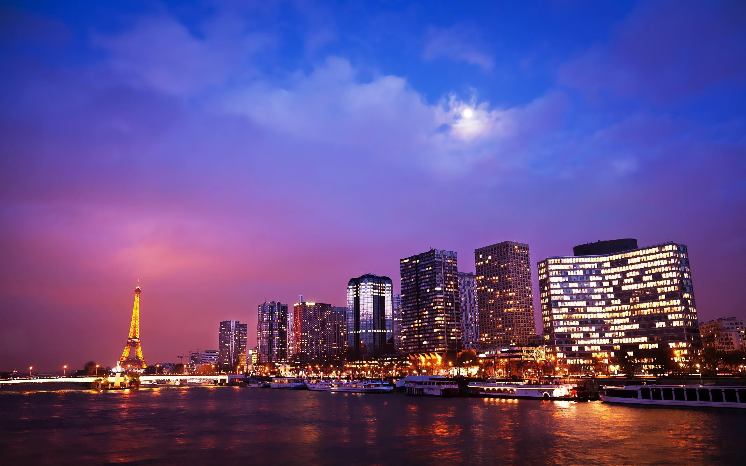Paris Nights Cities Architectural Wallpaper Avance