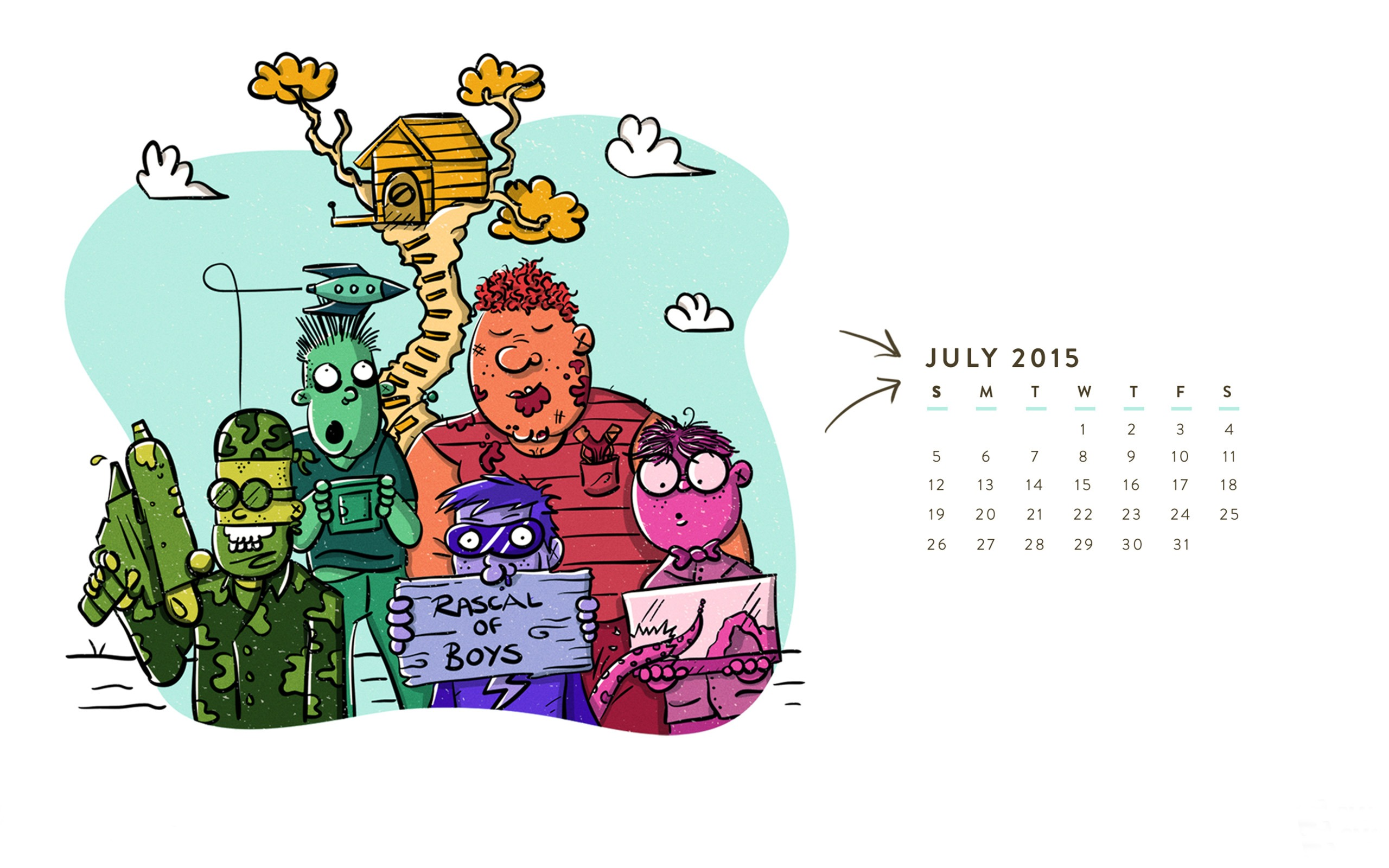 男の子のラスカル 2015年7月カレンダー壁紙プレビュー 10wallpaper Com