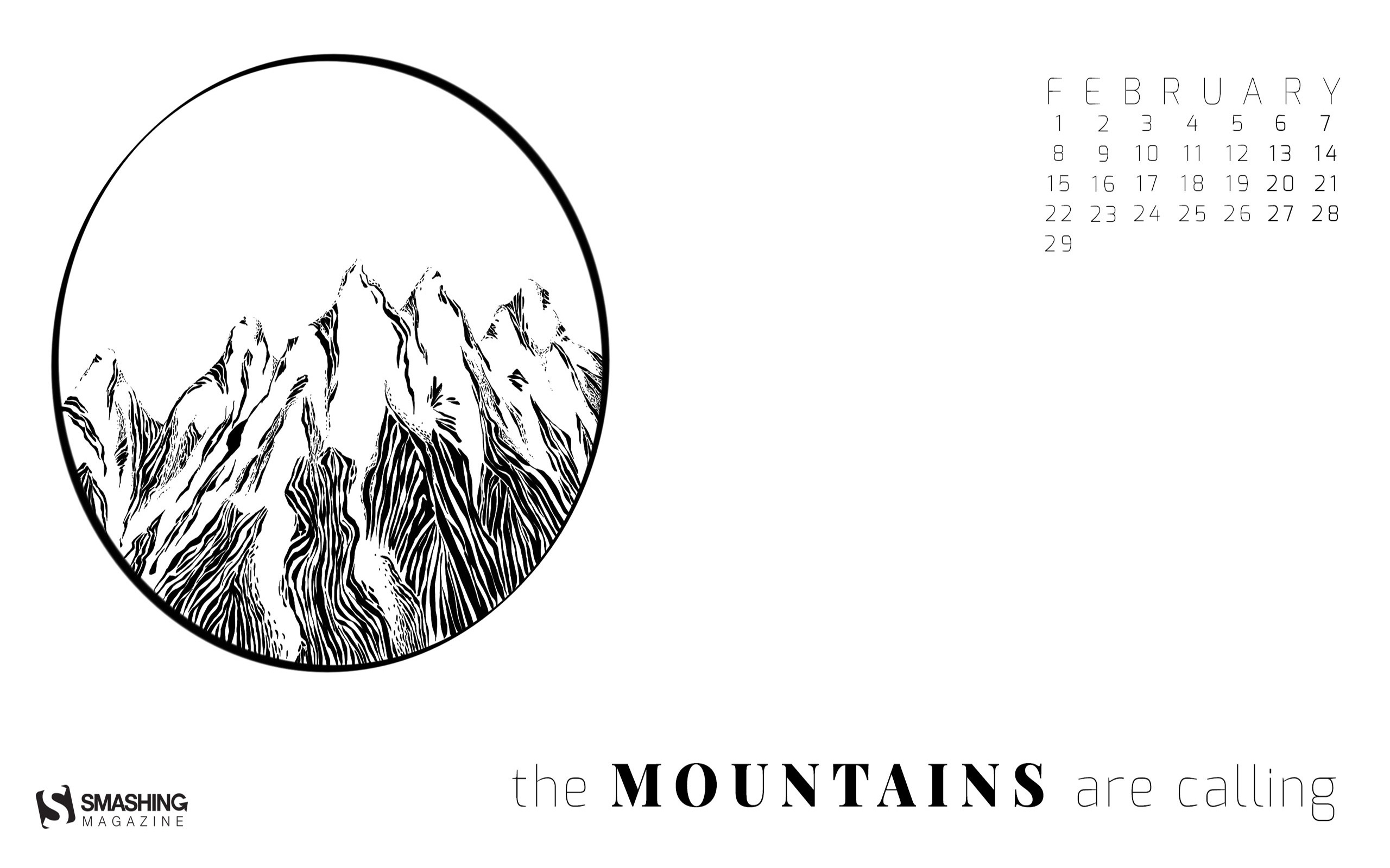 The Mountains Are Calling February 2016 Calendar Wallpaper Preview