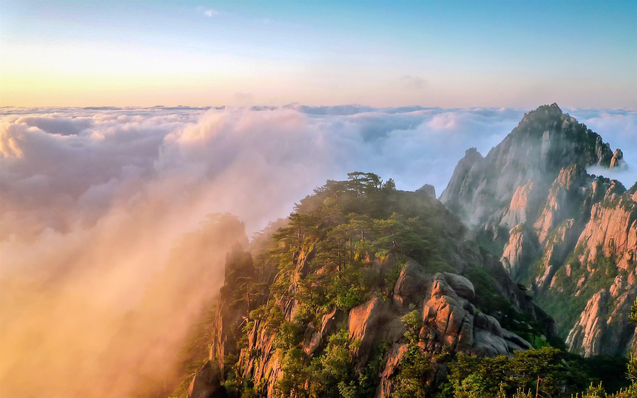 中国 建筑_中国,黄山,云海,日出,高山,风景预览   10wallpaper.com