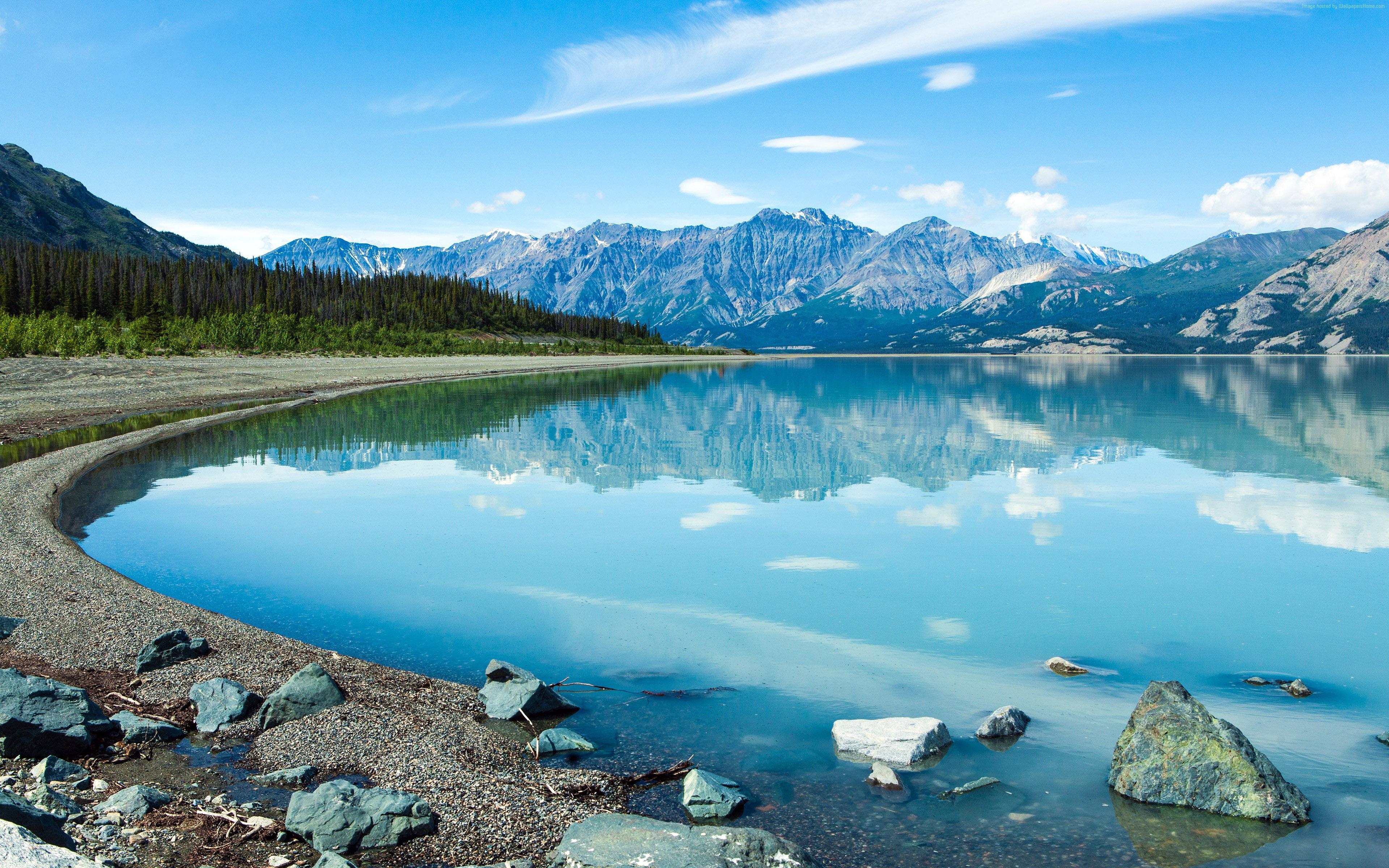 Montanha, Lago, Natureza, 4k, Hd, Paisagem Visualização