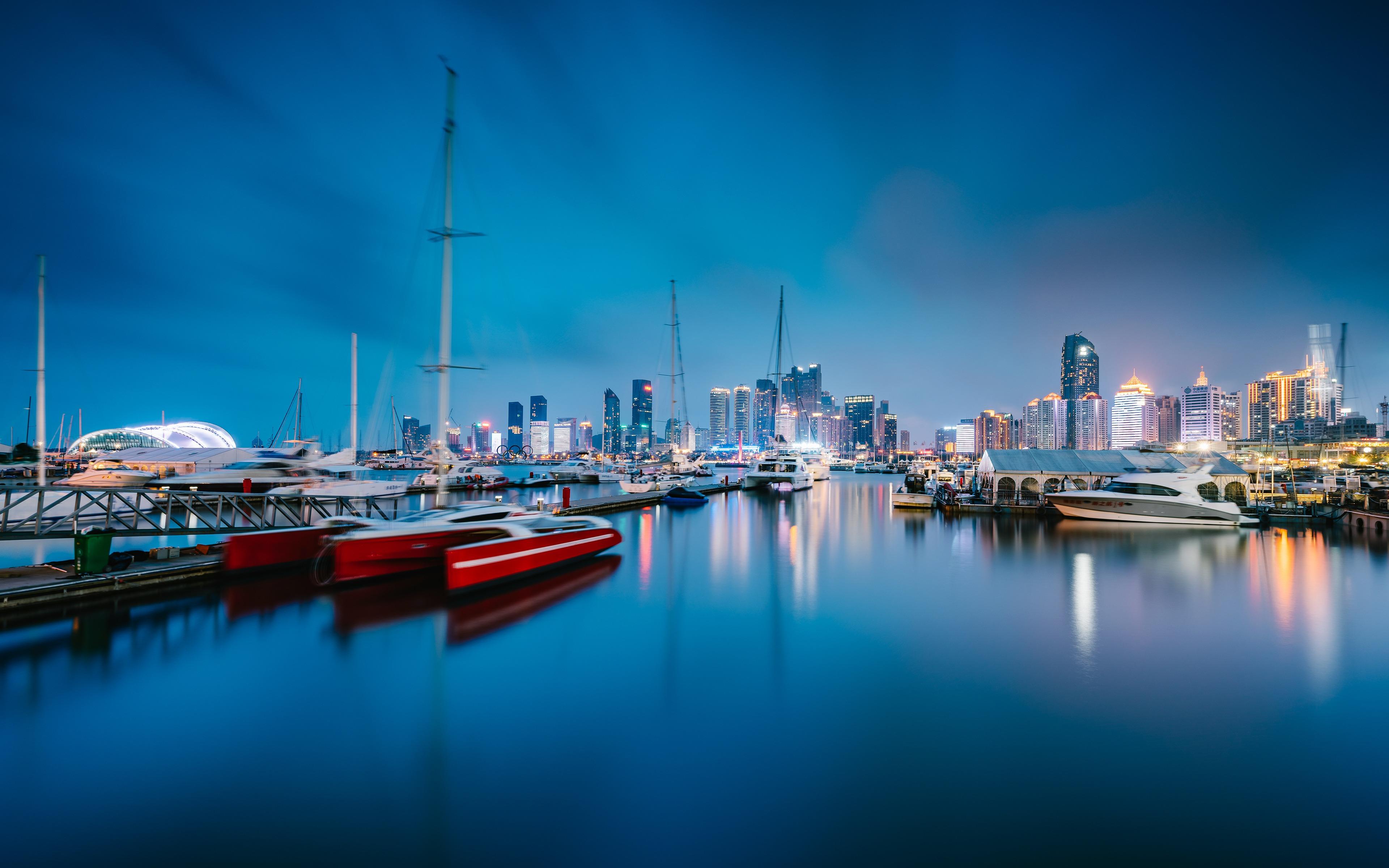 Capital City Auto >> China Sailing Capital Qingdao Harbor Night Preview   10wallpaper.com