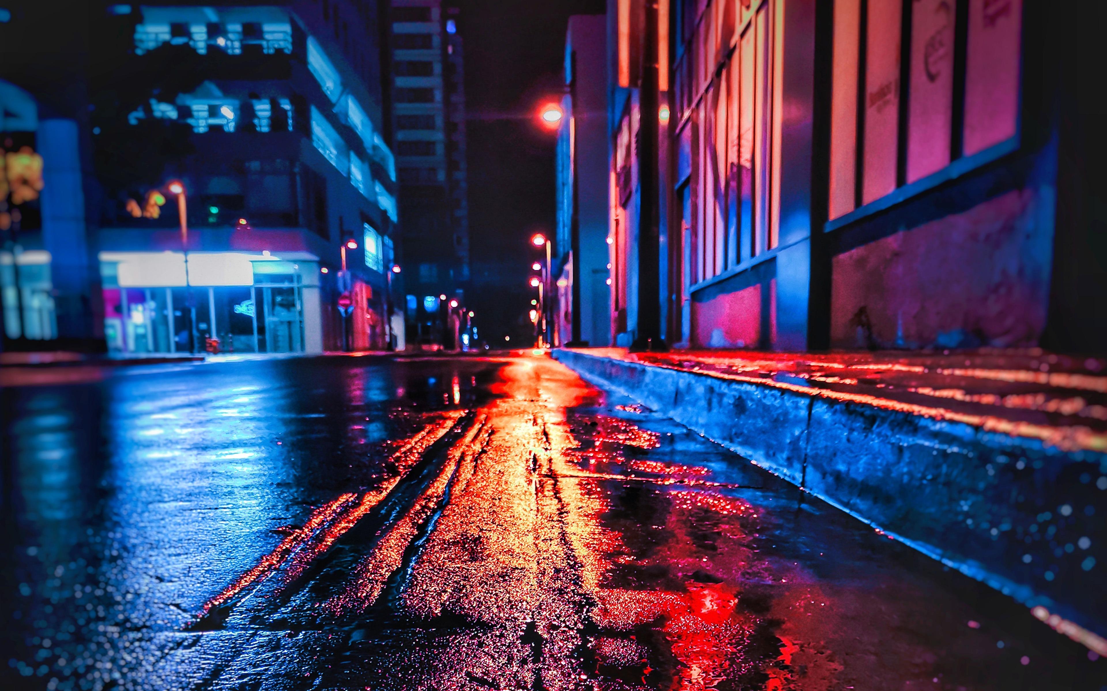 繁华都市_街头之夜,雨后,2019,城市,高清,照片预览   10wallpaper.com