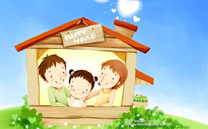 Cartoon Family illustration for Mother Day - Lovely Sweet Views:27115