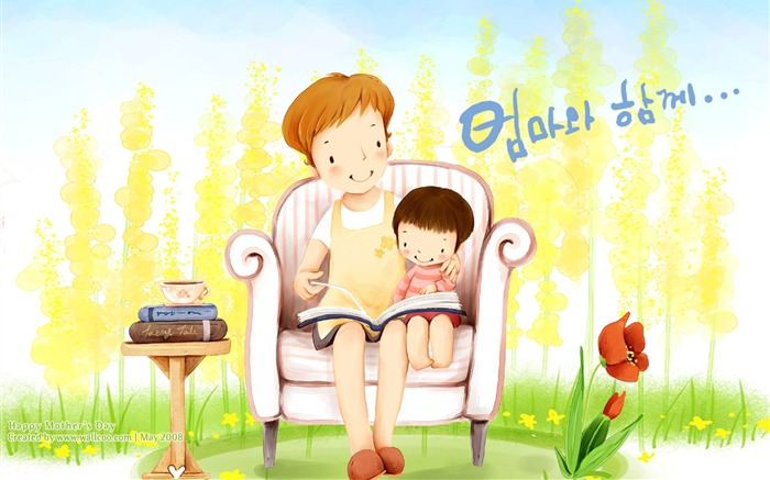 Cartoon illustration for Mother Day - Sweet illustration of mother and daughter Views:14309