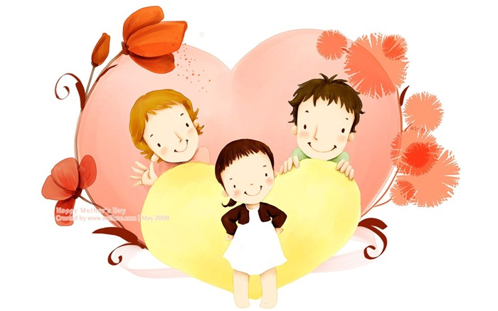 Happy family love - Lovely Art illustration for Mothers day Views:17863