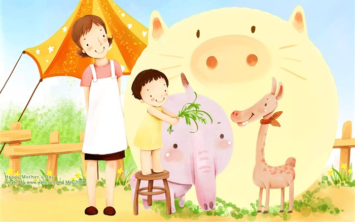 Lovely llustration of Mother And Daughter in zoo - Korean illustration Views:9045