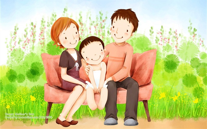 Sweet Family Day - Lovely Cartoon illustration of Sweet Family Views:30974