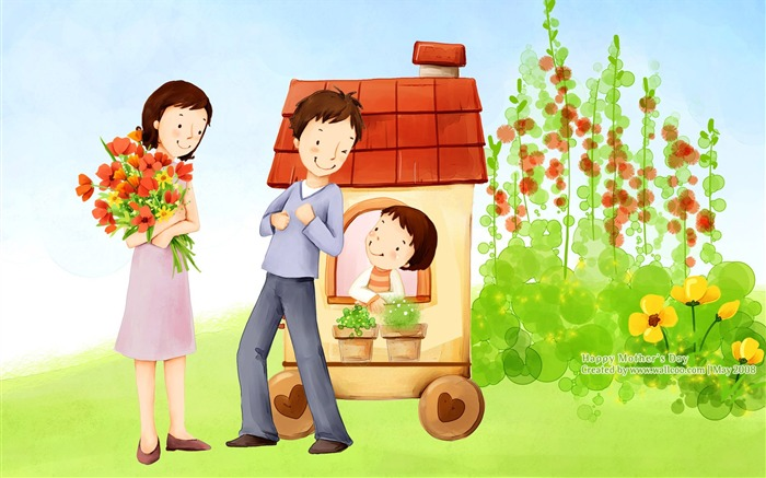 Sweet Happy Family - Lovely Art illustration for Mothers day Views:21168