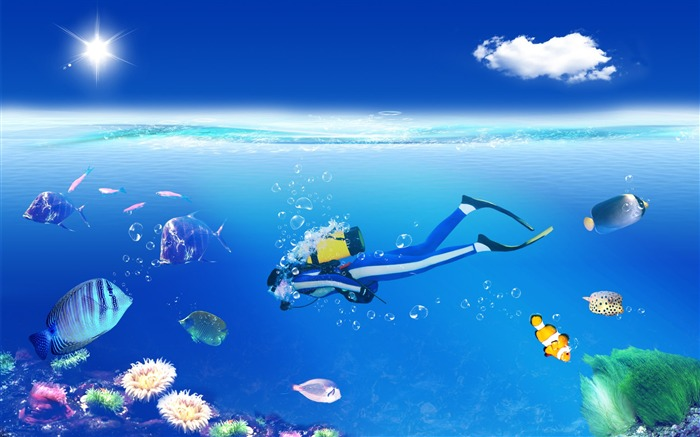 Creative Digital Composite-Diving in the colourful world Views:4796