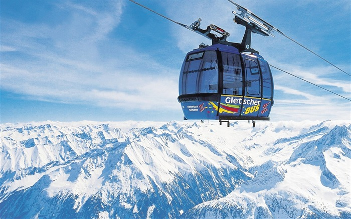 Ski-lift over the snowy mountains - Alpine Winter Vacation Views:9288