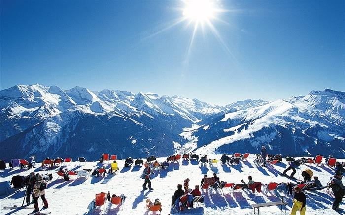 Sunbathing in the Alps - Alpine Winter Vacation Views:4497