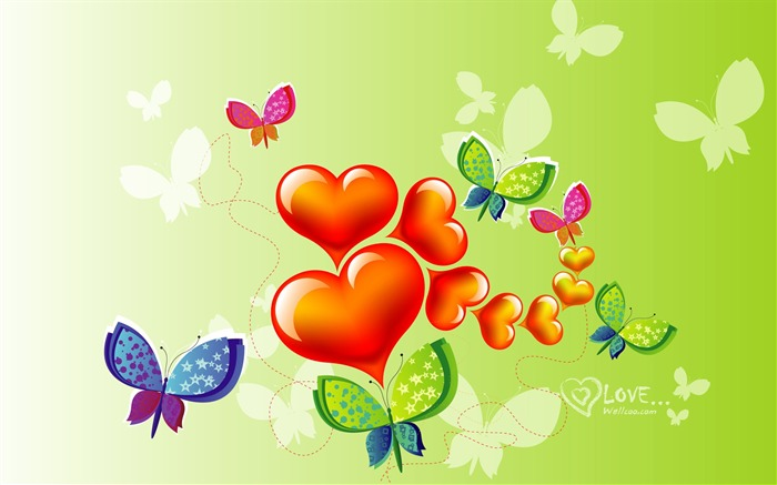 Butterfly love - Valentines Day heart-shaped design wallpaper Views:24764