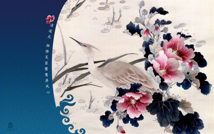 Egrets screen heart wallpaper Hibiscus Embroidery Views:7165