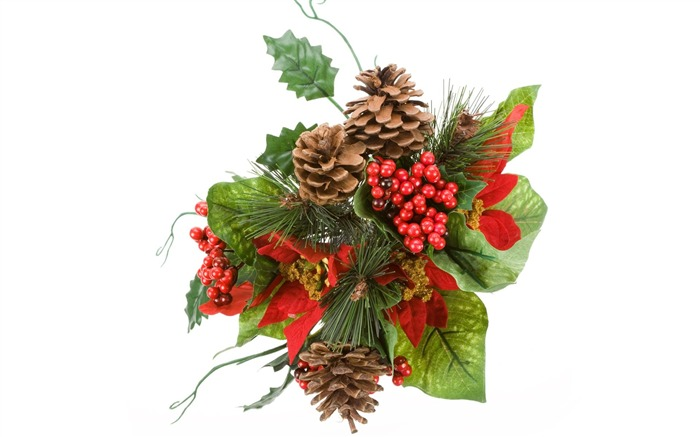 Picture- Christmas decoration with holly and pine cones Views:53150