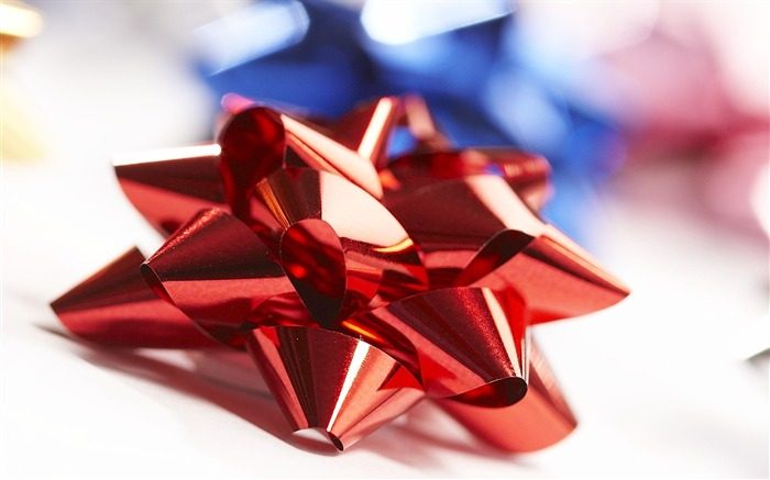 Picture- Red Christmas Bow Christmas Ribbons Wallpaper Views:9377