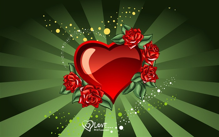 Rose Love - Valentines Day heart-shaped design wallpaper Views:14223