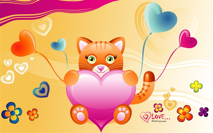 Tiger love - Valentines Day heart-shaped design wallpaper Views:6861