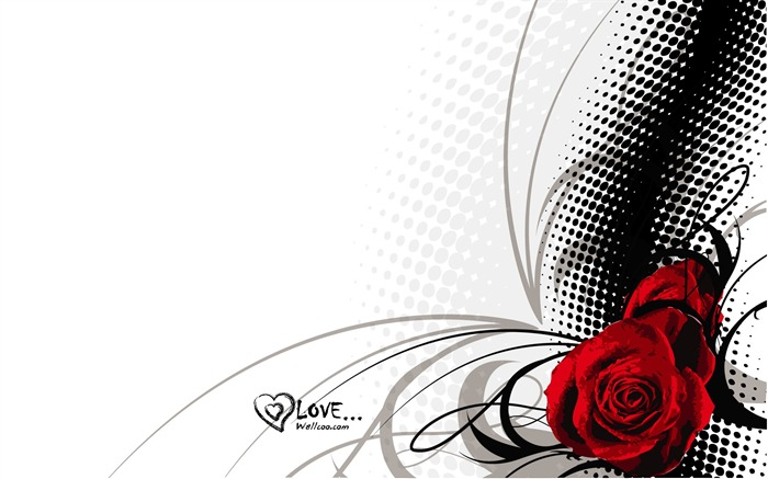 Valentines Day rose - Valentines Day heart-shaped design wallpaper 01 Views:20083
