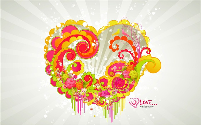 beautiful love - Valentines Day wallpaper illustration design Views:11820