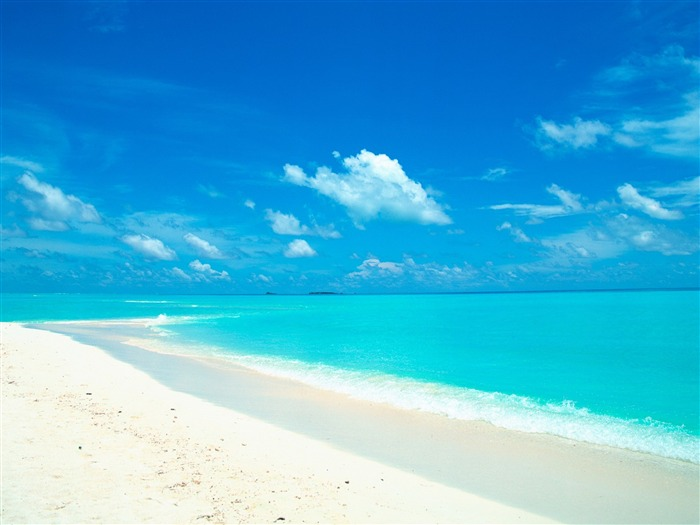blue sky and water in the white sand beach wallpaper Views:91575