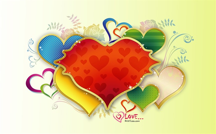 colorful love - Valentines Day heart-shaped design wallpaper Views:7231