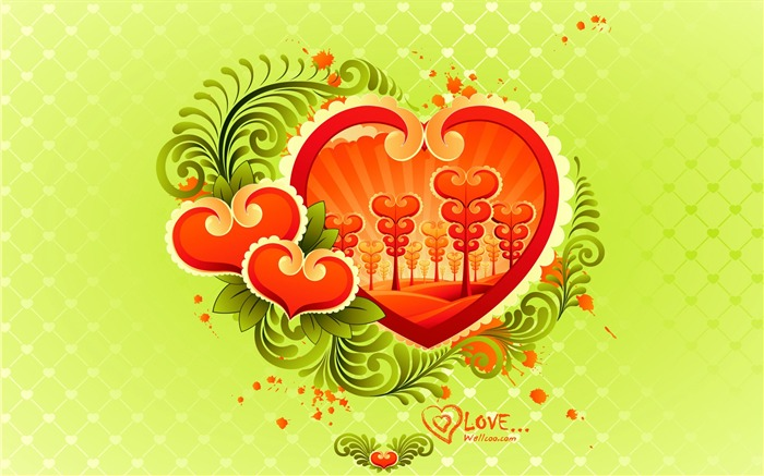 colorful love - Valentines Day wallpaper illustration design Views:7036