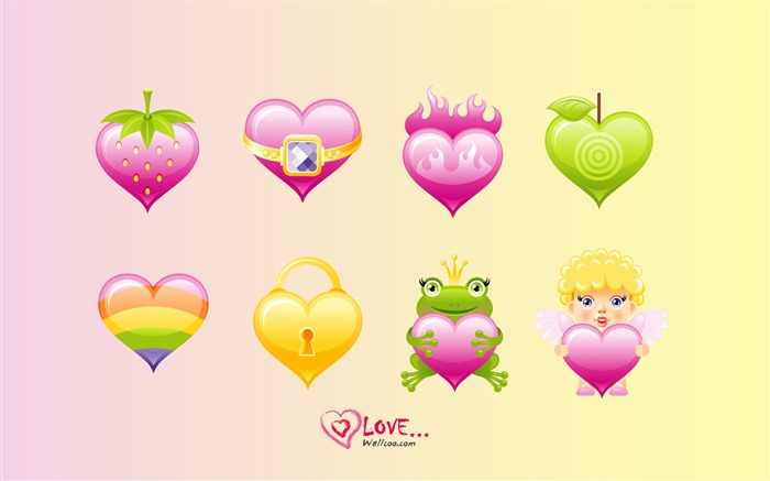 cute love - Valentines Day heart-shaped design wallpaper Views:13509