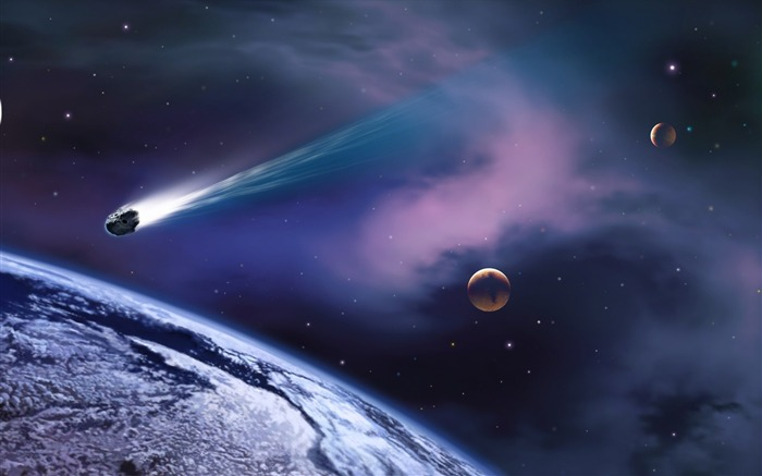 35 Cosmic space CG illustrator-meteorite crashed into the Earth picture Views:17458