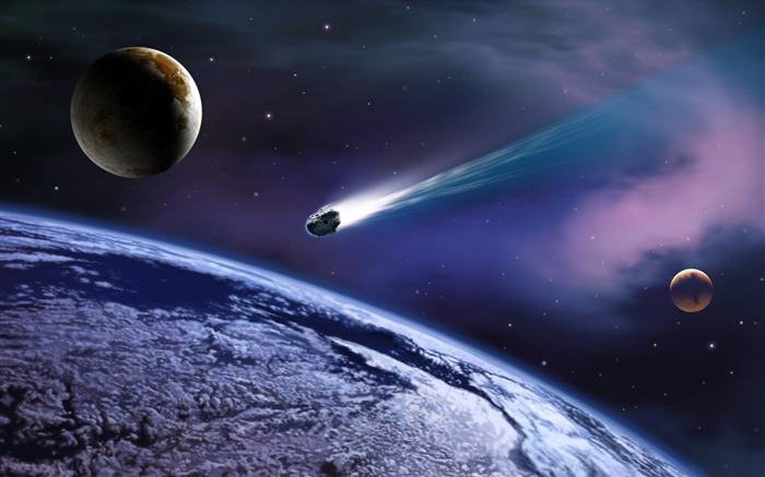 4 Cosmic Space CG illustrator-meteorite crashed into the Earth picture Views:37611