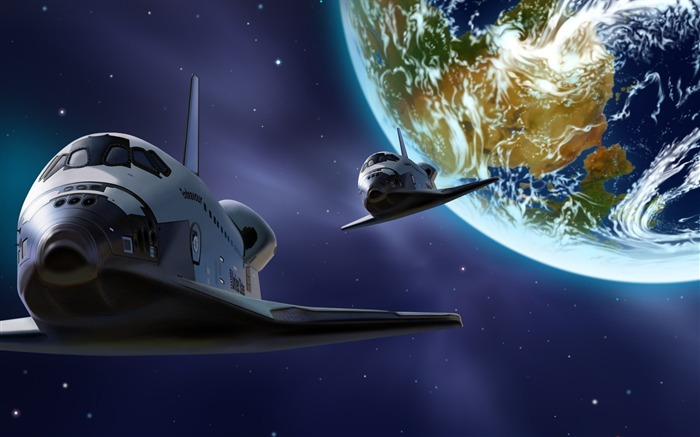 7 CG illustrator cosmic space-the Earth-the space shuttle pictures Views:15872