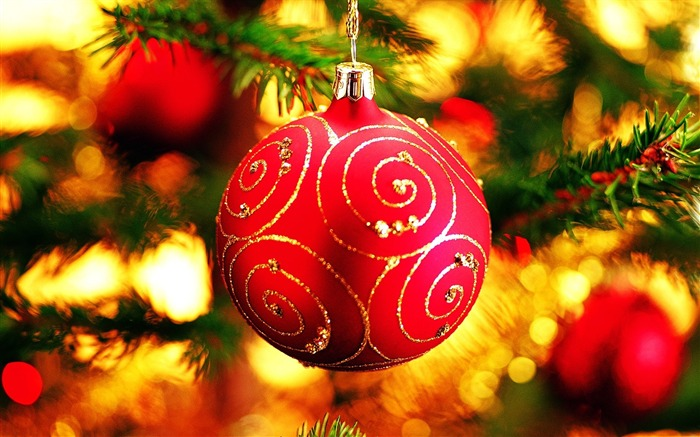 Merry Christmas - Christmas tree decoration ball ornaments Wallpaper Views:21965