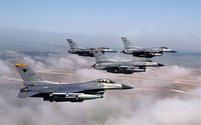F16 Formation Fighter Falcons- military aircraft - HD Wallpaper Views:13492