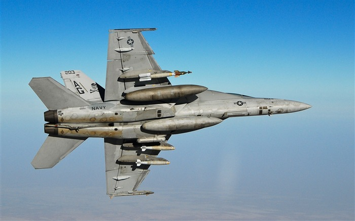 FA 18F Super Hornet Fighter- military aircraft - HD Wallpaper Views:21619