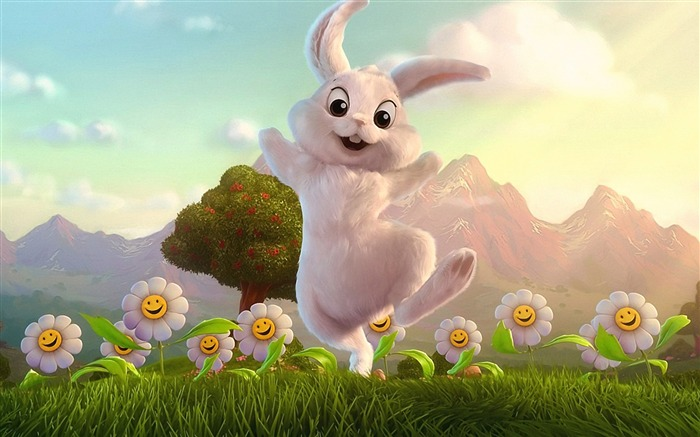 Funny Rabbit Cartoon character - HD Desktop Wallpaper Views:38987