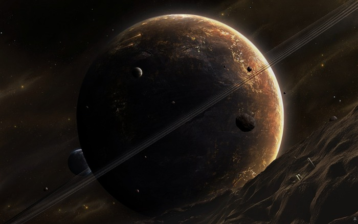 HD Space Art-Outpost of the Huge Dark planet Views:10903 Date:9/15/2011 6:02:14 AM