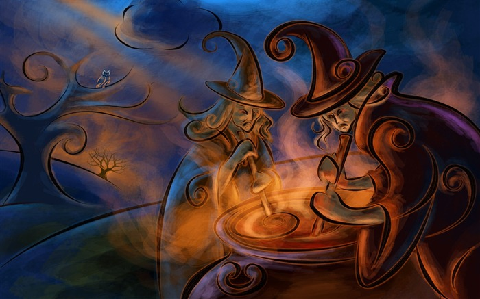 Refining magic potion witch-Halloween Illustration Design Wallpaper Views:6022