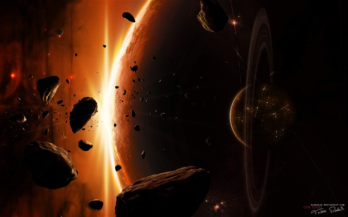 Sci-fi Space Art-Tauri and Ringed planet- Sci-fi Art Views:8199 Date:9/15/2011 6:17:25 AM